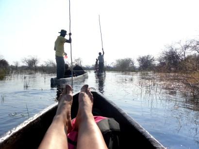 A mokoro ride in the Okavango Delta, Botswana