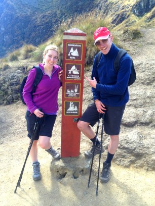 Reaching the highest point on the Inca Trail, Peru