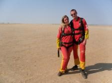 Getting prepared for skydiving over the Namibian desert