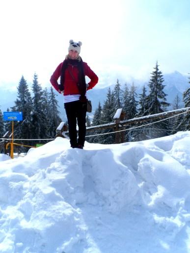 Climbing the snowy mountains in Poland