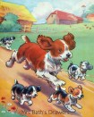 1930s farmyard illustration - Spaniel dog and puppies image
