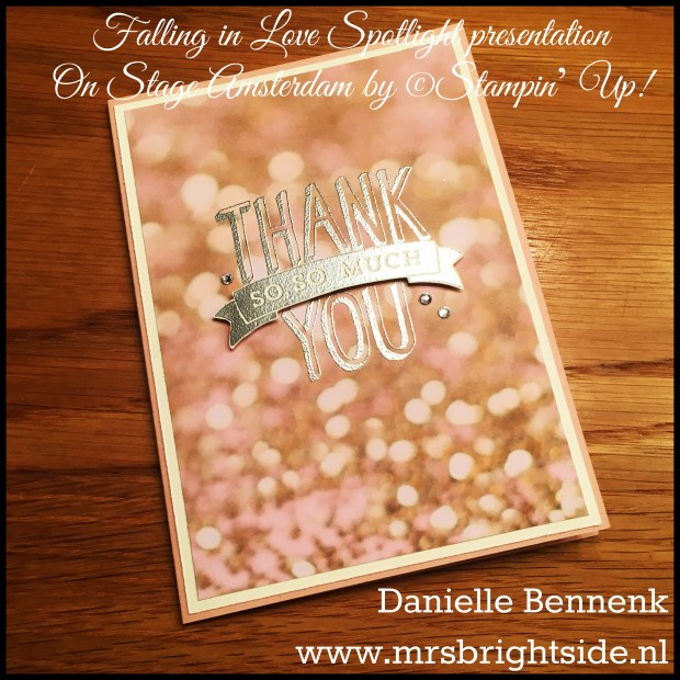Falling in Love DSP - Scenic Sayings - Silver Emboss Powder, Versamark & Heat tool - Blushing Bride & Very Vanilla cardstock - Rhinestone jewels