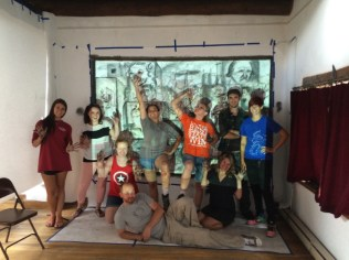 Our group in front of our piece...Scott, the visiting artist in on the floor.