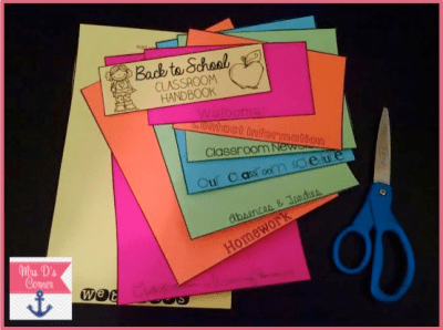 Use colorful paper to create a rainbow of important information parents need to know within your calendar flipbook.
