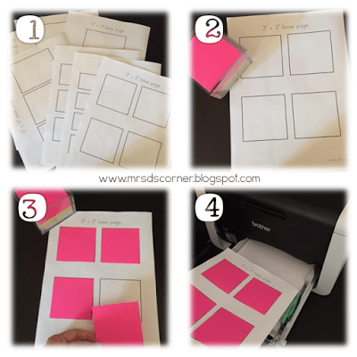 How to print on a sticky note. Step by step directions for how to print on a sticky note. Free template included, blog post at Mrs. D's Corner.
