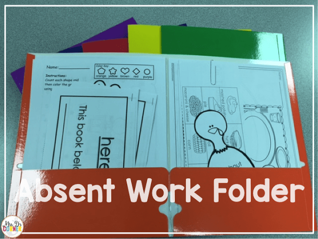 Color coded absent work folders help me keep track of who needs to complete what work when a child or multiple students are out absent.