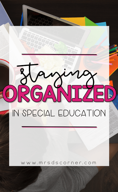 Staying organized in the special ed classroom. How to have and utilize a color coded classroom to keep yourself organized. Classroom organization through color coding. Keep students organized in your classroom too. Blog Post at Mrs. D's Corner.