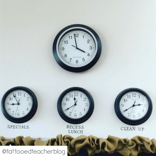 Use extra clocks underneath your  classroom clock to let students know of important times throughout the school day.