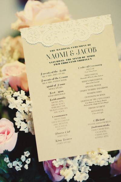 Lace & Kraft Paper Wedding Program | Free Template! | Mrs. Fancee
