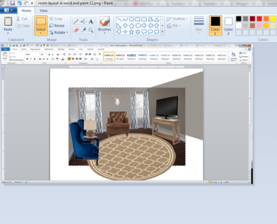 room layout in word and paint 13