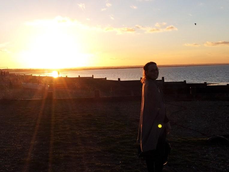 Sun setting at the seaside