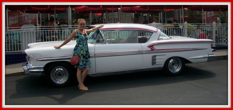 Me in America with a vintage car