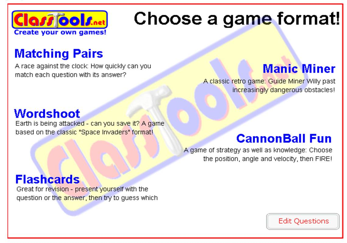 Classtools Flash Cards and Arcades Game