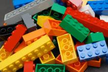 A picture of many legos, different legos