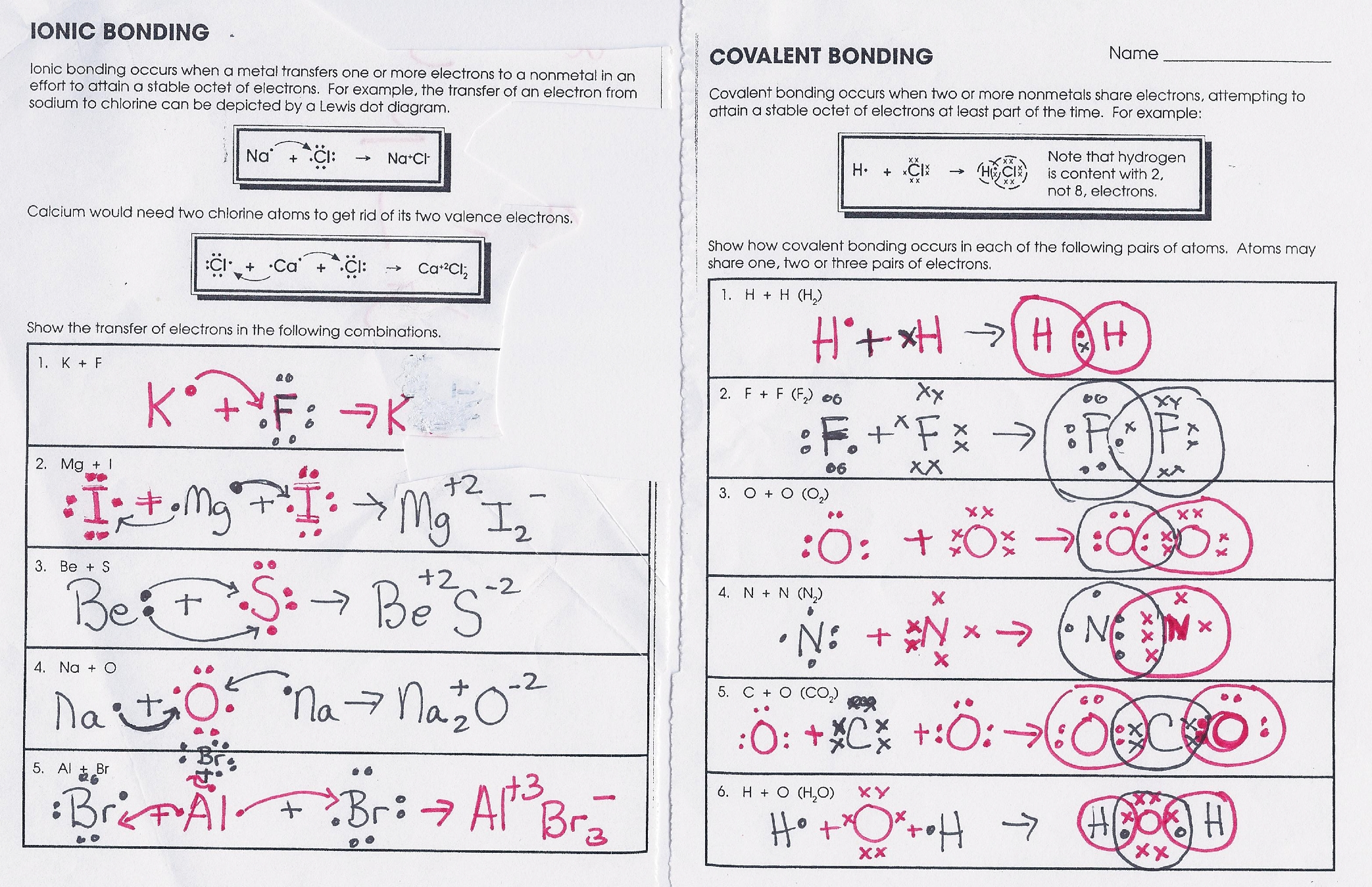 Bonding Worksheet Answers