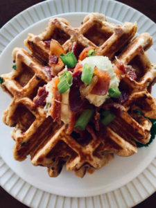 Chorizo Bacon Waffle with Chili Butter