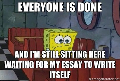 A meme showing how writing an essay could be really difficult for some people.