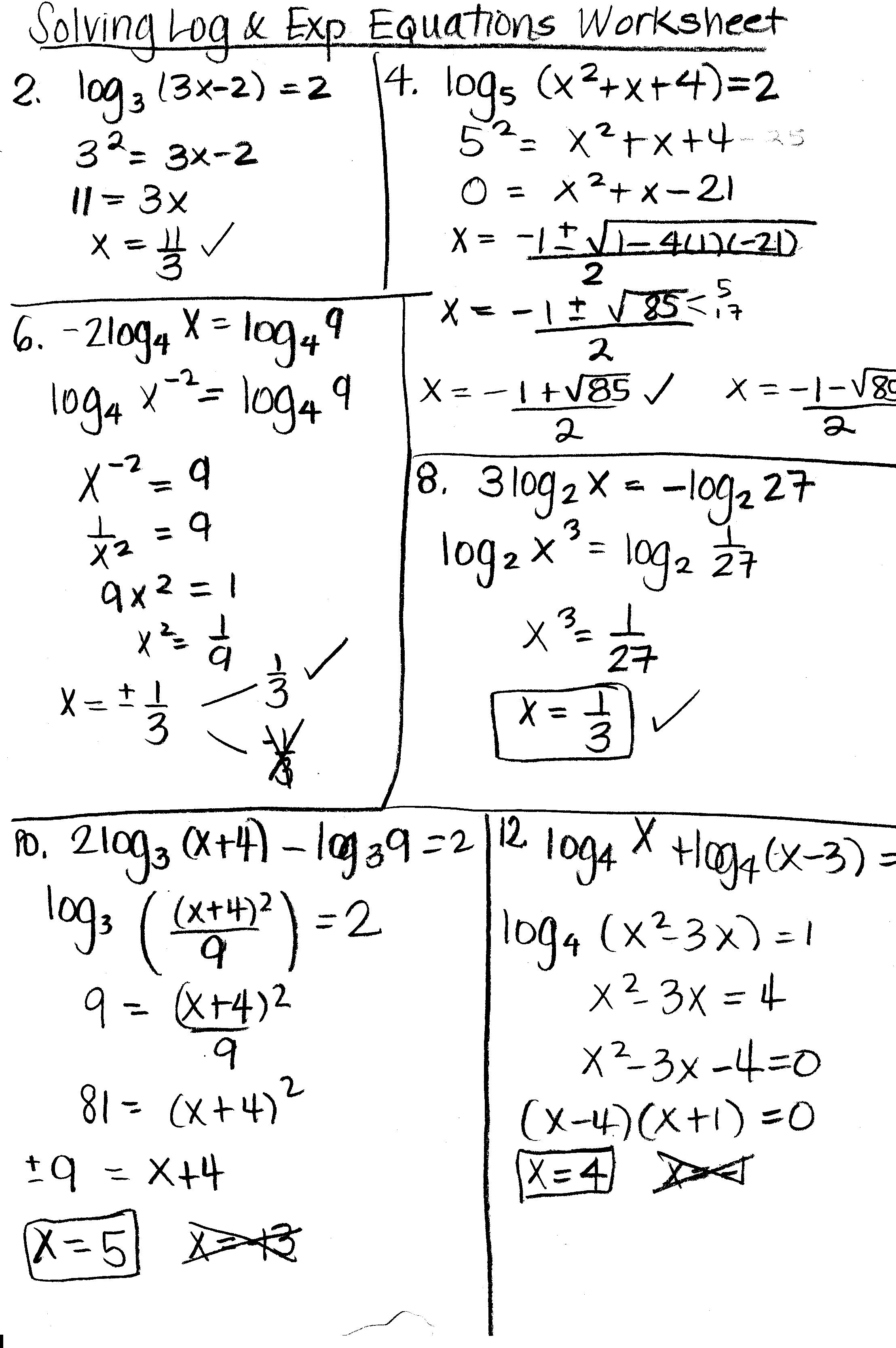 7 4 Skills Practice Solving Logarithmic Equations And