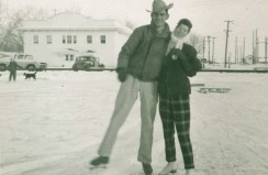 Mom & Dad on the ice in Midwest, 1960's