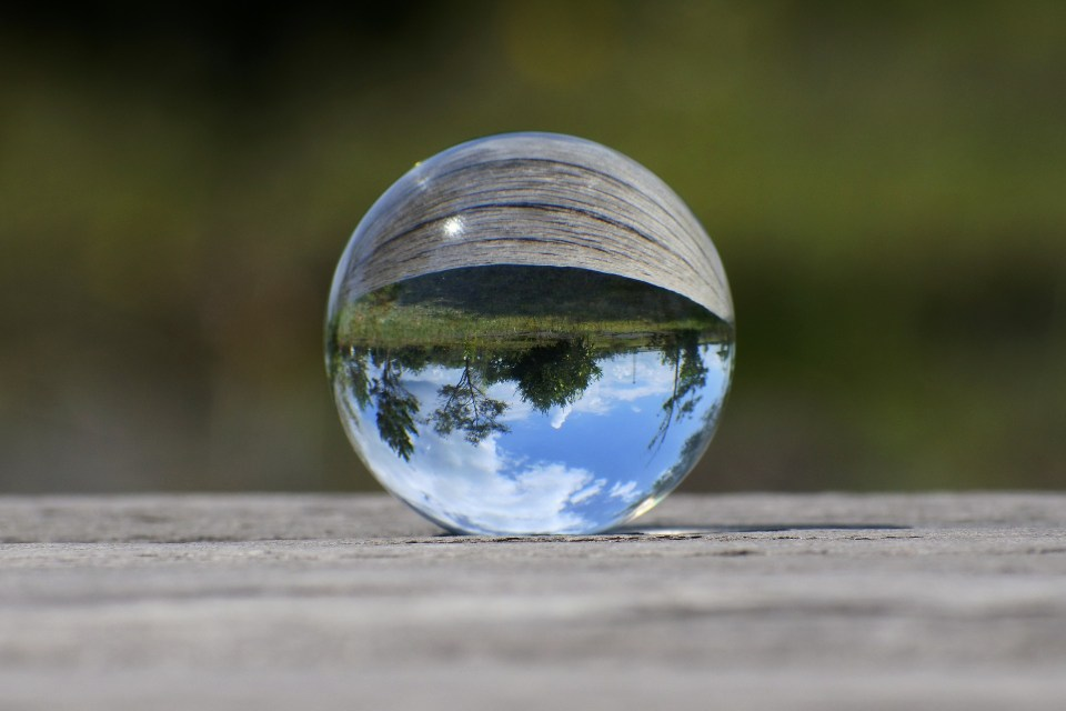 Glass ball that shows landscape upside down