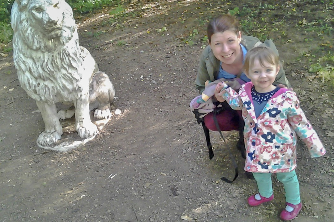 A photograph of a mother and he daughter smiling happy smiles and standing in front of a stone lion - 50 Things that Make Me Happy - Mrs H's favourite things
