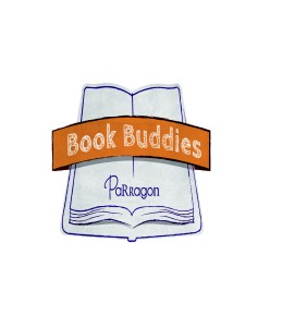 "Parragon Book Buddies logo_ a hand drawn blue book with the Parragon logo on it and a banner with ""book buddies"" written on it - a Parragon Book Buddies review_Mrs H's favourite things"
