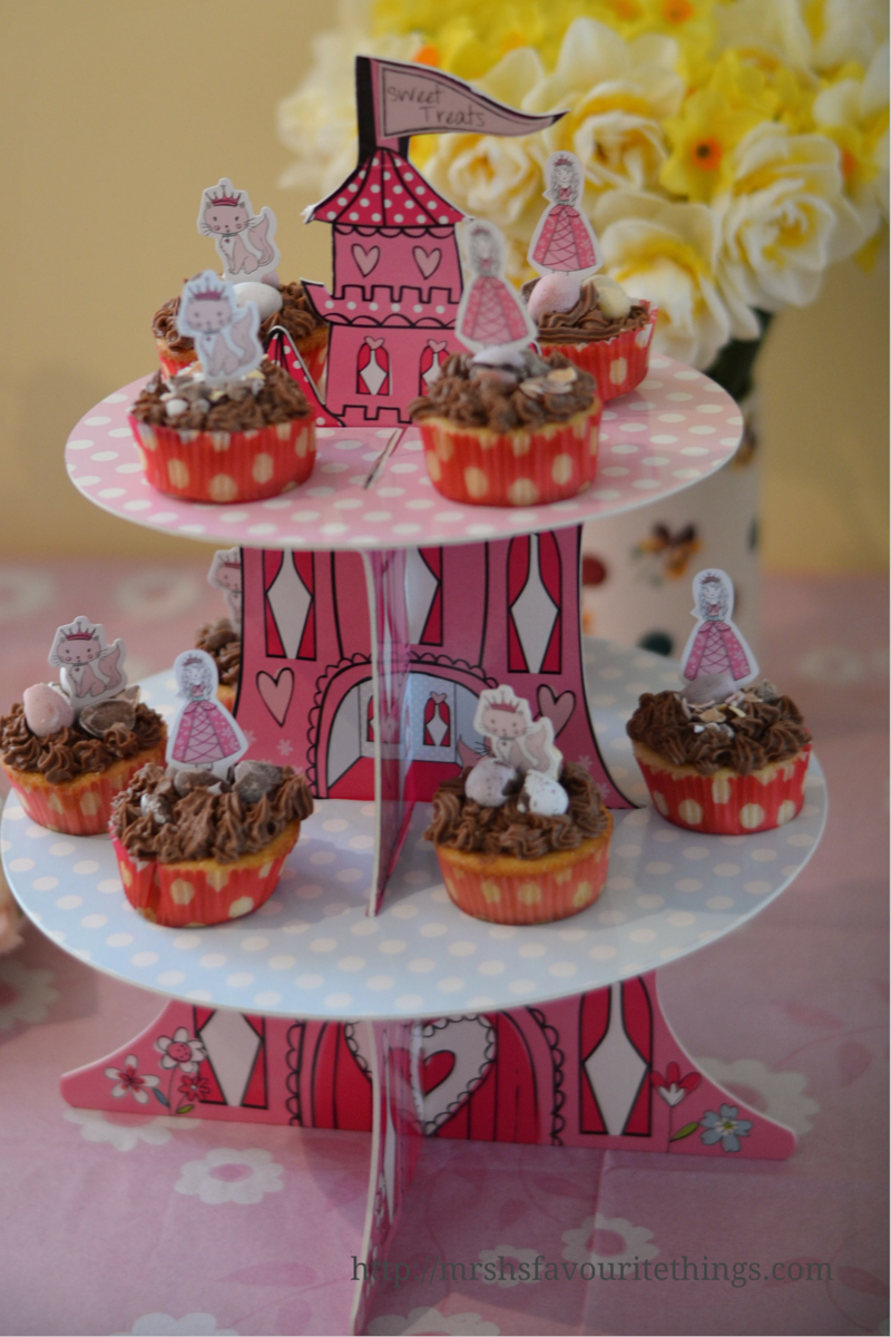 A princess and the kitten party cake stand with chocolate cupcakes on it My Captured Moment_a special afternoon tea party_Mrs H's favourite things