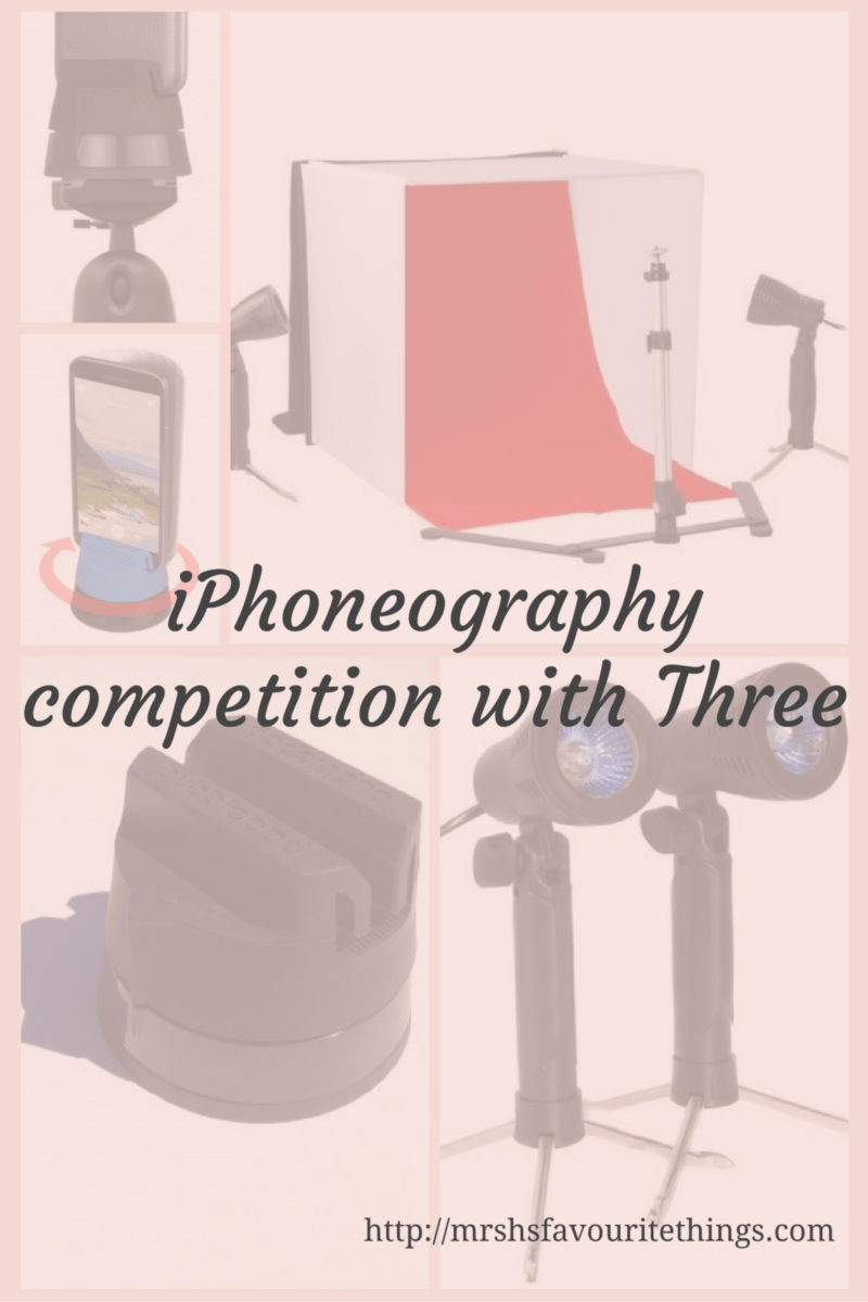 "Five photos of the iPhoneography kit which can be won in this competition_including a bubble pod, two mini studio lights, a phone stand, a mini light box with 4 colour backgrounds_with the title ""iPhoneography competition with Three""_Mrs H's favourite things"
