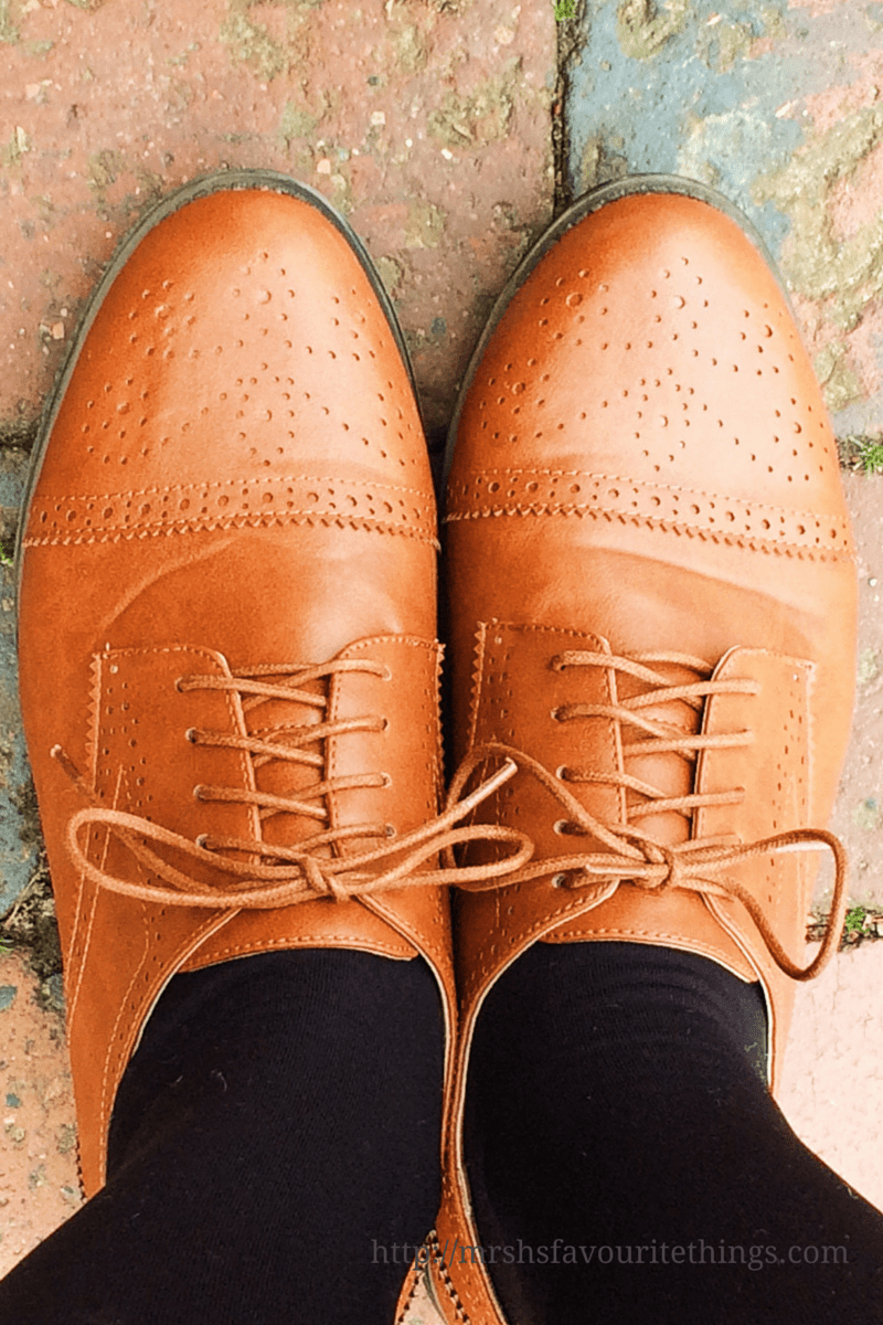 A pair of tan brogues against a brick pavement _ Because I'm happy _ October _ Mrs H's favourite things