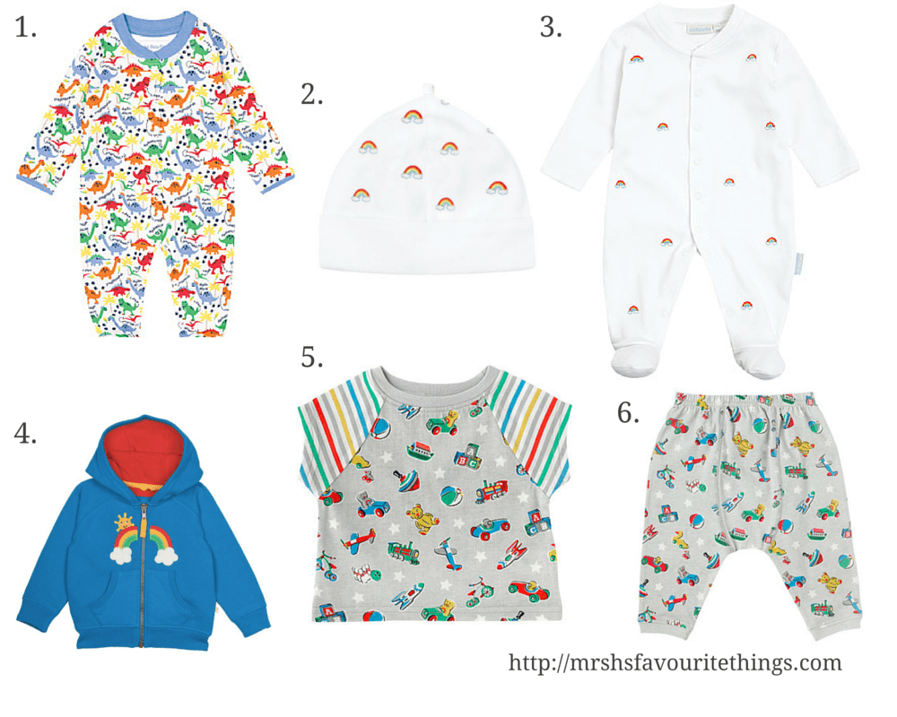 A collection of clothing for a new born baby boy featuring rainbows or beautiful bright rainbow colours _ includes clothes from Frugi, Jojo Maman Bebe and Cath Kidston - Rainbow wish list for a baby boy - Mrs H's favourite things