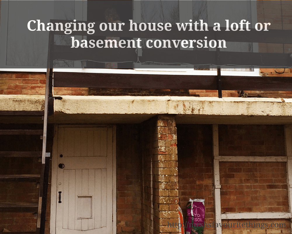 "A photograph of the back of a house, with a visible basement, a balcony and staircase down to the garden and some patio windows_ includes the title ""Changing our house with a loft or basement conversion"" - Mrs H's favourite things"