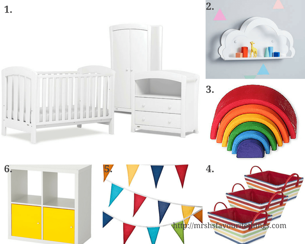A wish list for Little Mister H's small nursery filled with white furniture and yellow and rainbow accessories - featuring products from Urbane by Boori, Not on the High Street, Little Acorns to Mighty Oaks, IKEA and Great Little Trading Company. Nursery inspiration for small rooms _ Mrs H's favourite things