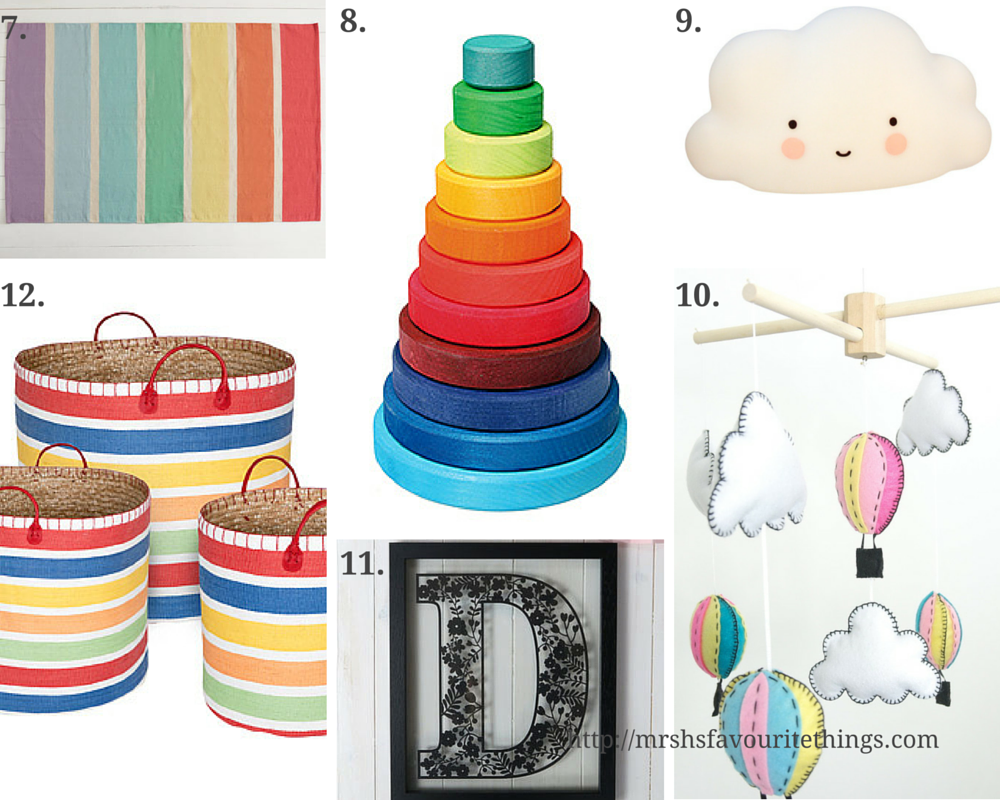 A wish list for Little Mister H's small nursery filled with white furniture and yellow and rainbow accessories - featuring products from Mini Maison, Not on the High Street, Little Acorns to Mighty Oaks, Jojo Maman Bebe and Great Little Trading Company. Nursery inspiration for small rooms _ Mrs H's favourite things
