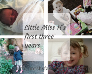 "Sharing four photographs of our daughter. One of her as a newborn, one on her first birthday, one on her second birthday and the last is on her third birthday - includes the post title ""Little Miss H's first three years"" _ Mrs H's favourite things"
