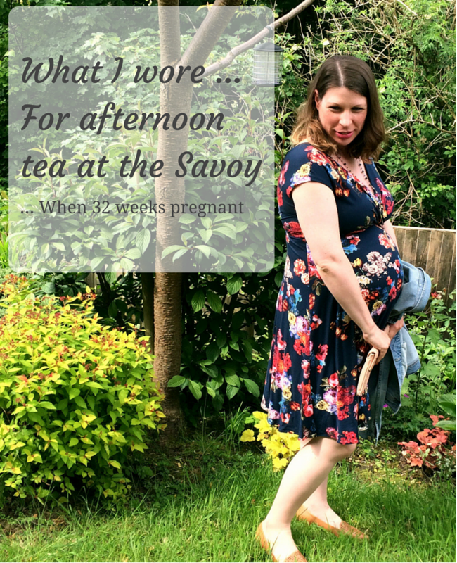 "A photograph of a pregnant lady standing in a garden wearing a floral maternity dress from Tiffany Rose _ includes the title ""what I wore ... for afternoon tea at the Savoy ... when 32 weeks pregnant"" _ Mrs H's favourite things"
