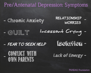A black chalk board containing the symptoms to pre/ antenatal depression - prenatalchalk-300x240 - Perinatal mental health #PNDAW16 - It's okay not to be okay - Mrs H's favourite things