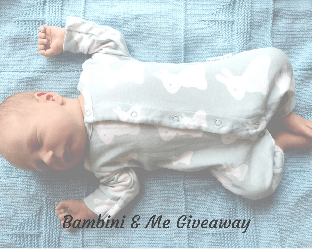 "A faded photograph of a little baby boy lying on a knitted blue blanket and wearing a bamboo bunny romper from at Bambini and Me - includes the title ""Bambini & Me Giveaway"" - Mrs H's favourite things"