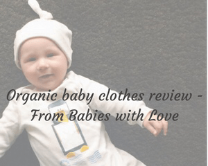"OA faded photograph of a very cute baby boy wearing a gorgeous Penguin Baby Grow and a French Grey Little Kisses Knotted Hat from From Babies with Love AW16 Capsule Collection of organic baby clothing - featuring the blog title ""Organic baby clothes review - From Babies with Love"" - Mrs H's Favourite Things"
