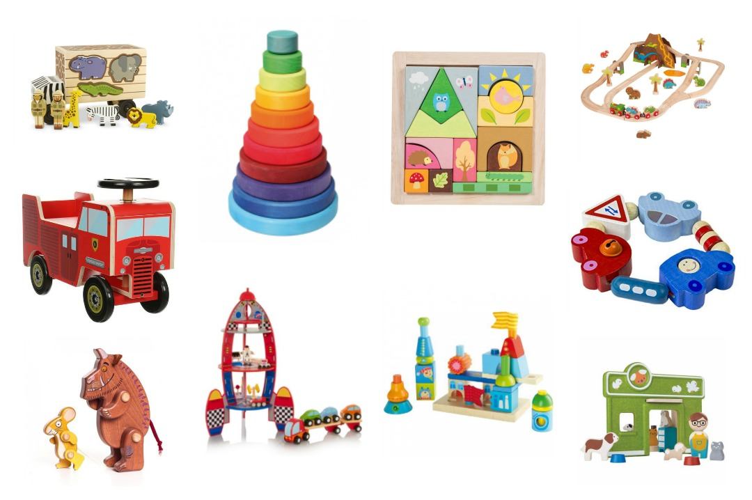 A collage of fabulous wooden toys for baby and toddler boys - including a fabulous fire engine ride on from Halfords, Grimms conical rainbow stacker and a Bajo wooden mouse and Gruffalo figures - Wooden toys wish list for baby and toddler boys - Mrs H's favourite things