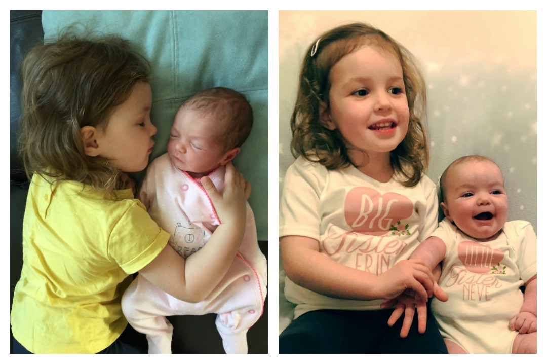 A photograph collage which includes two beautiful photographs of two stunning little girls - big sister Erin and her rainbow baby sister Neve - My Rainbow Baby featuring Real Mum Reviews - Mrs H's favourite things