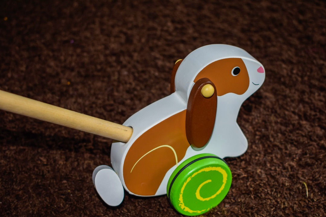 A photograph of a Push Along Rabbit Wooden Toy from Bigjigs - Bigjigs Sweetland Express and Push Along Rabbit - A Bigjigs Play Patrol Review - Mrs H's favourite things