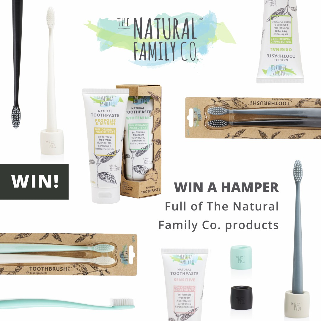 A photograph of the contents of the hamper of Natural Family Company (NFco) products - the hamper includes 4 toothpastes and 4 toothbrushes - Natural Oral Care for the Whole Family with The Natural Family Company - Mrs H's favourite things