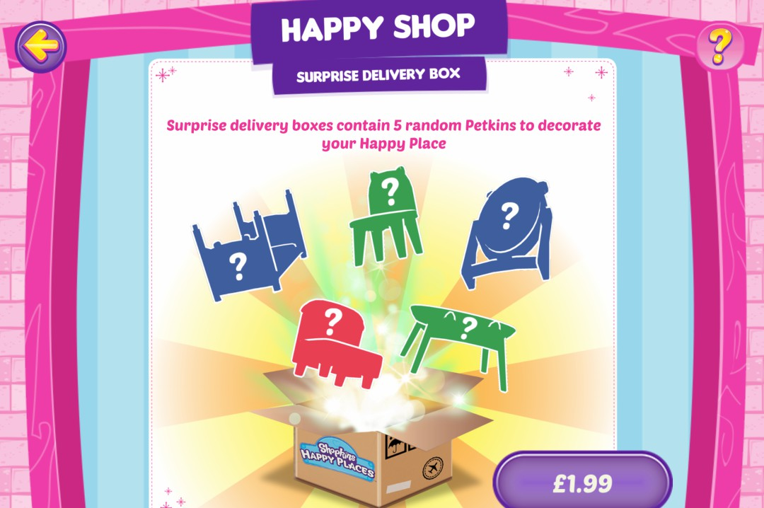 A screen shot of the In-App purchases from the Shopkins Happy Places App created by Kuato Studios and Moose Toys - Shopkins Happy Places App Review - Mrs H's favourite things