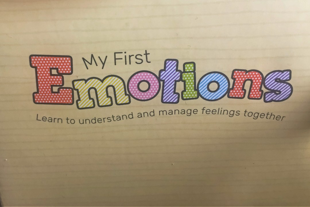 A photograph of the My First Emotions logo on the My First Emotions box from Skylark Learning - Why I Want Our Children To Have Emotional Intelligence - Mrs h's favourite things