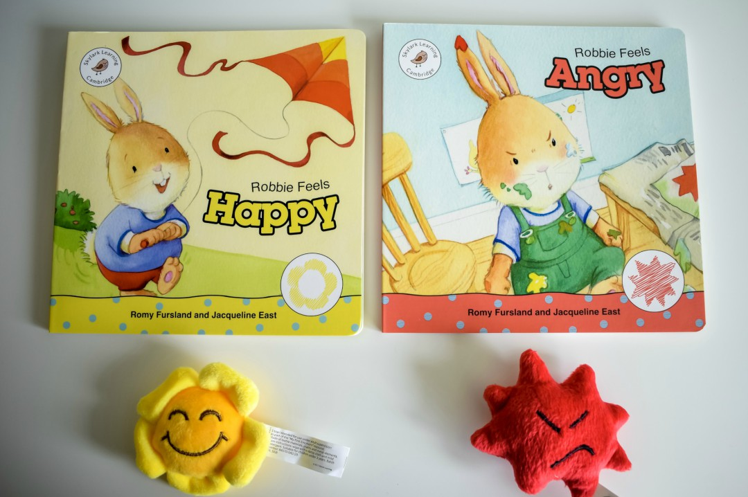 A photograph of two of the storybooks from My First Emotions - Robbie Feels Happy and Robbie Feels Angry accompanied by the Emotions toys that fit the book - My First Impressions of the My First Emotions Box - Mrs H's favourite things