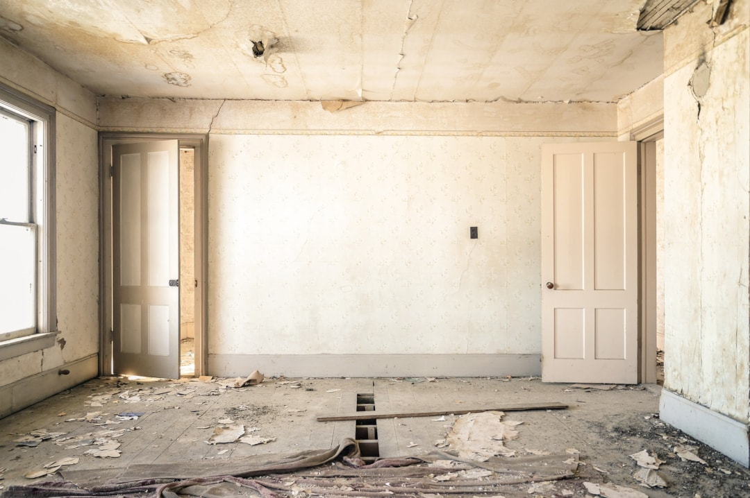 A photograph of a derelict room that needs to be renovated _ Why It Pays To Research Before You Renovate _ Mrs H's favourite things
