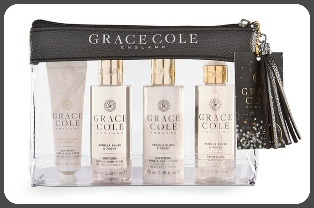 A photograph of a luxury travel essentials gift set in Vanilla Blush & Peony from Grace Cole - Our First Family Festival and Our Festival Essentials - Mrs H's favourite things