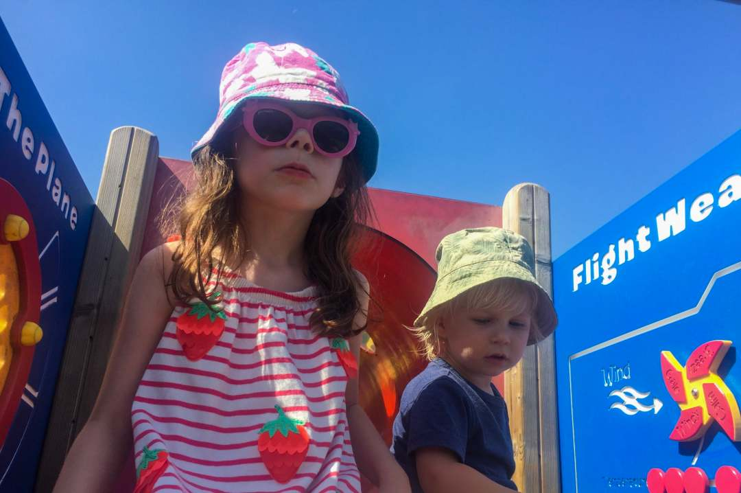 A little boy and girl playing in the castle at Brickville which is part of DUPLO® Valley at LEGOLAND® Windsor Resort - LEGOLAND® Windsor Resort - A Review - Mrs H's favourite things