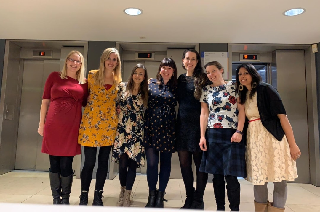 A photo of 7 blogging ladies standing outside the restaurant at the National Portrait Gallery - My Top Seven of 2018 - Mrs H's favourite things