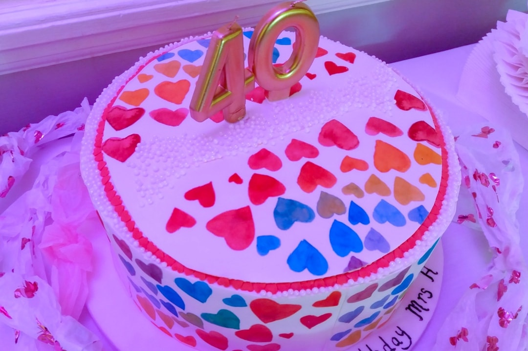 A photo of a 40th birthday cake covered in hearts - My Top Seven Of 2018 - Mrs H's favourite things
